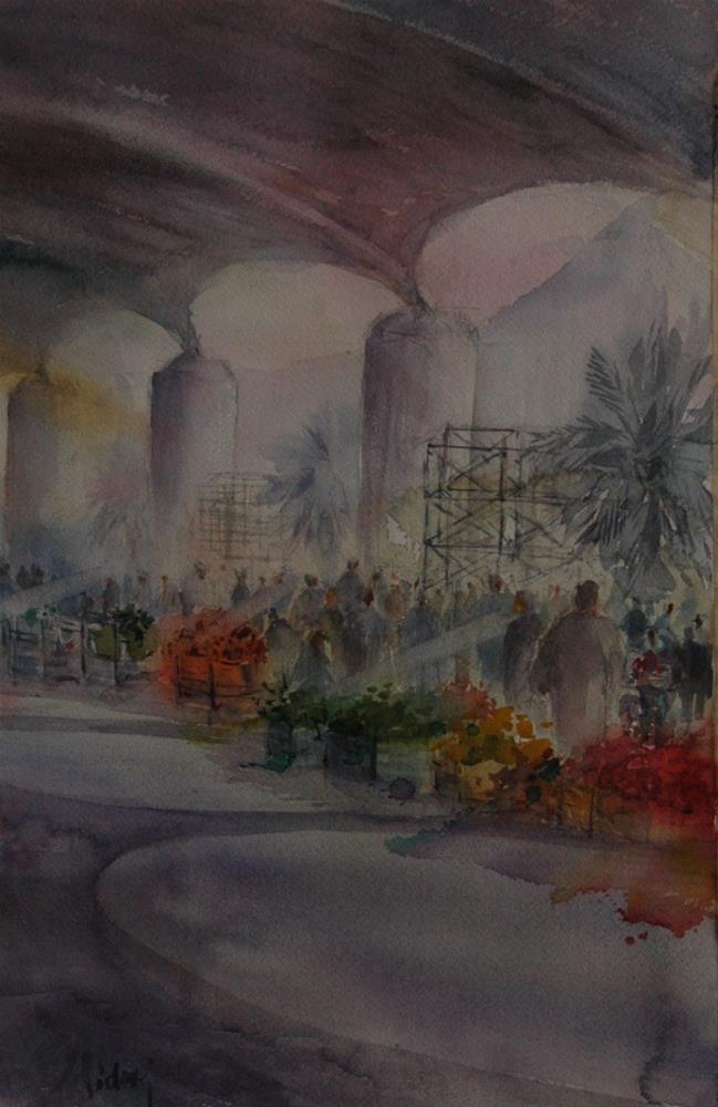 """""""Vegetable souq in Al Ain"""" original fine art by Midori Yoshino"""