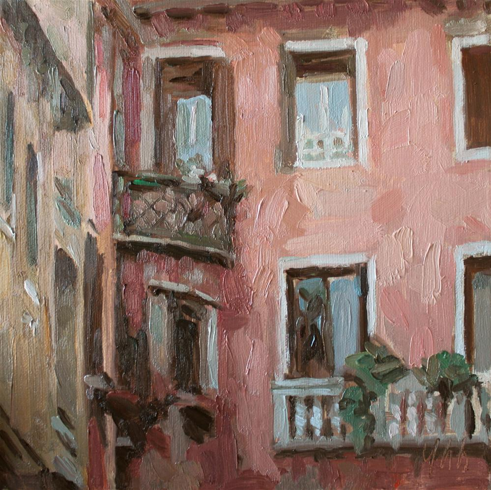 """Balcony"" original fine art by Yuehua He"