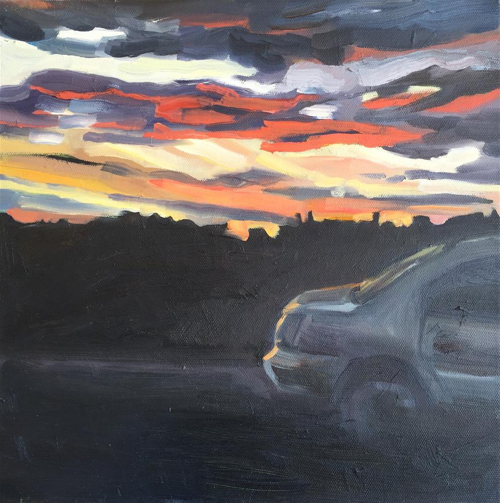 """""""Highway Sunset 2"""" original fine art by Jessie Dodington"""