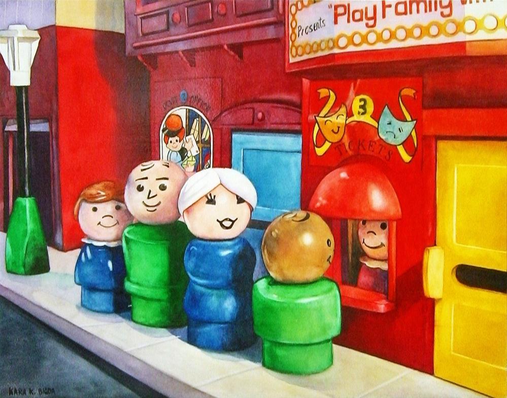"""In Line At The Theatre"" original fine art by Kara K. Bigda"