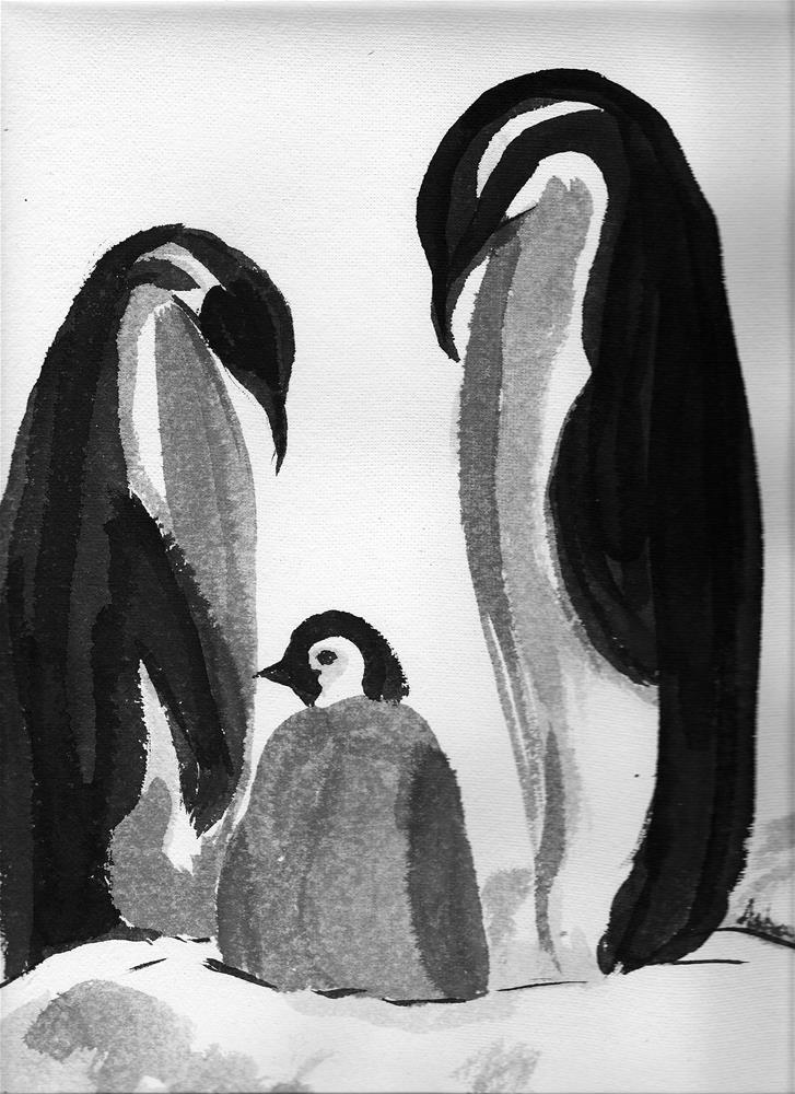 """""""Happy Feet -Chinese Ink Painting"""" original fine art by Asha Shenoy S"""