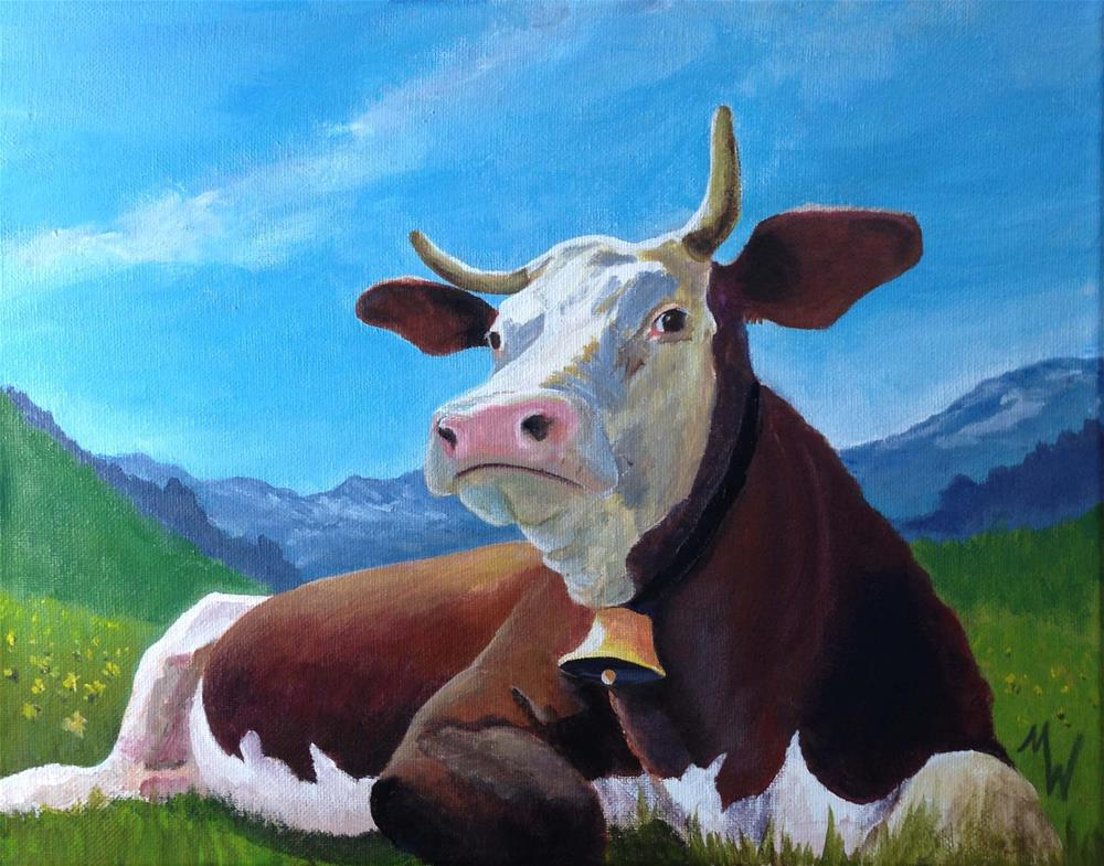 """Cow with Bell"" original fine art by Michelle Wolfe"