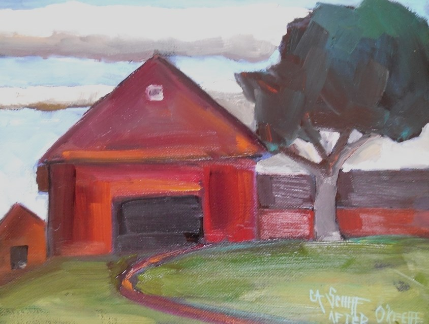 """Painting on Sale, Daily Painting, Small Oil Painting, Georgia's Barn by Carol Schiff, 6x8 Oil"" original fine art by Carol Schiff"
