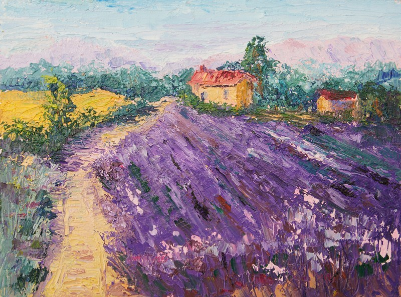 """""""Provence Lavender Fields #1 knife painting"""" original fine art by Marion Hedger"""