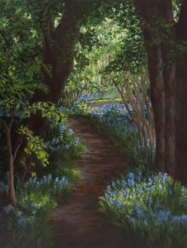 """Bluebells in Green"" original fine art by Elizabeth Elgin"