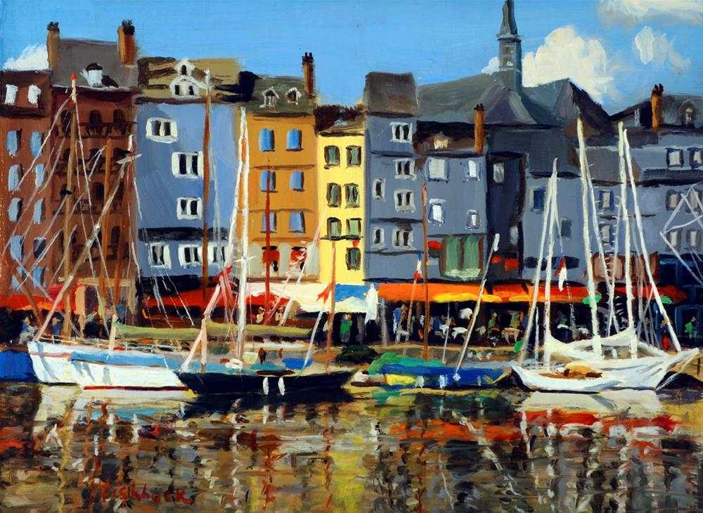 """Boats at Honfleur"" original fine art by Daniel Fishback"