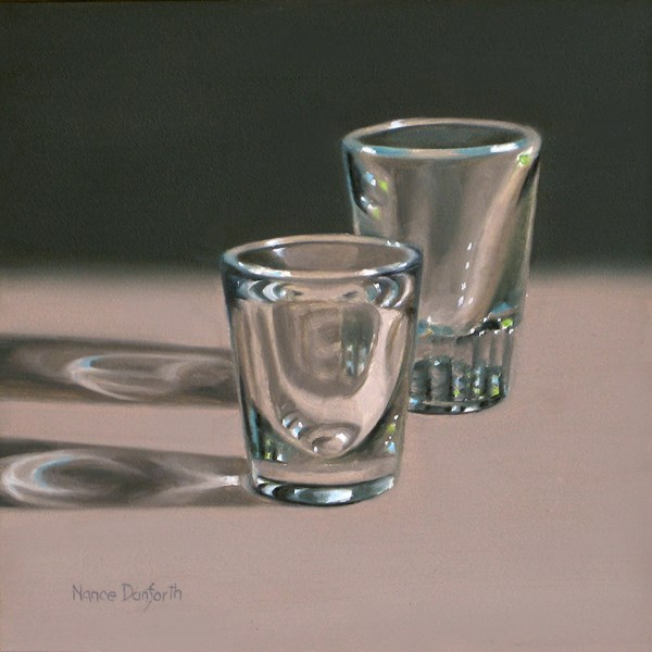 """Two Shot Glasses"" original fine art by Nance Danforth"