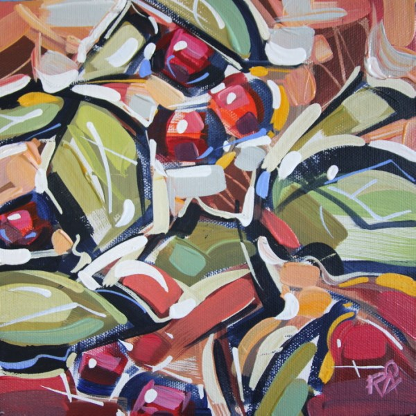 """""""Autumn Berry Abstraction 22"""" original fine art by Roger Akesson"""