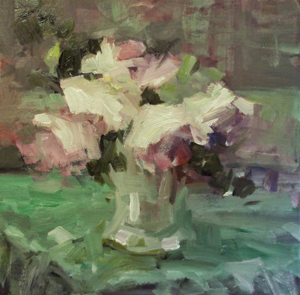 """Roses on a green cloth"" original fine art by Parastoo Ganjei"