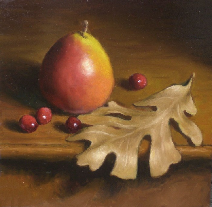 """Seckel Pear and Oak Leaf"" original fine art by Debra Becks Cooper"