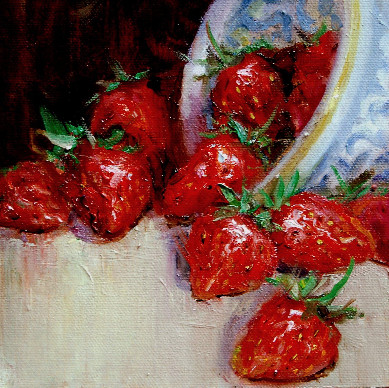 """Strawberry Treat"" original fine art by Julie Ford Oliver"