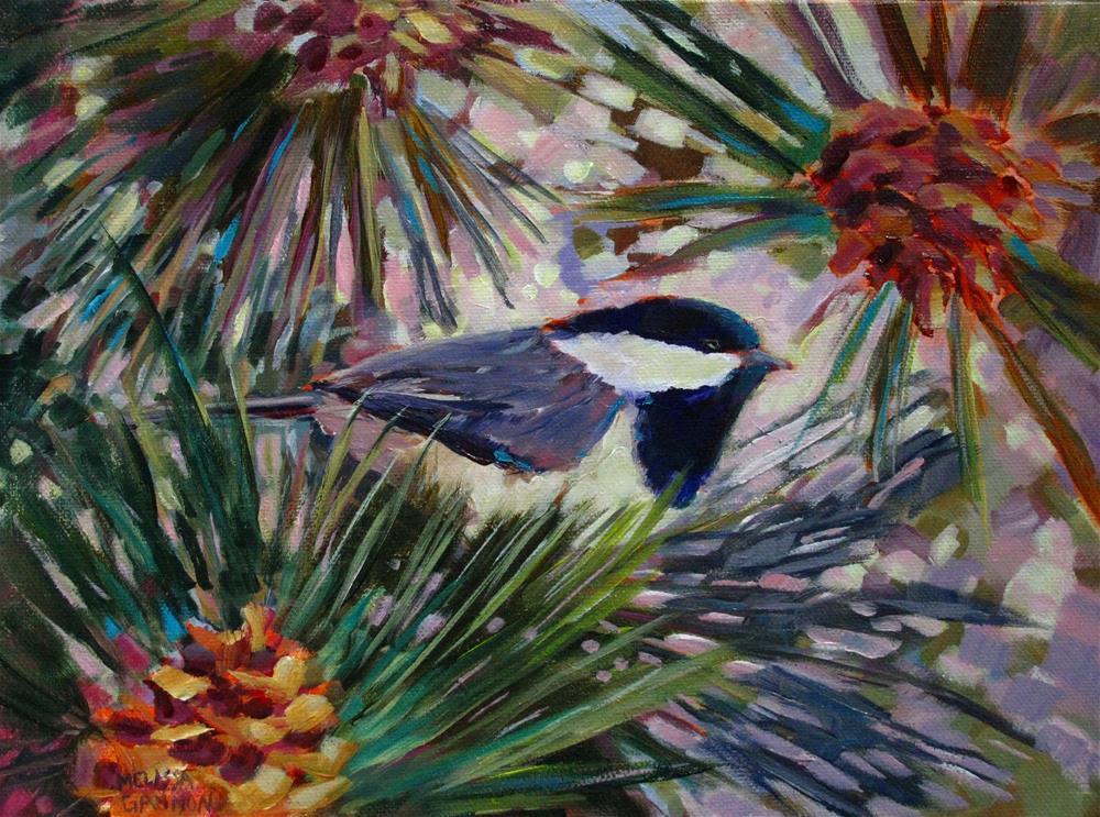 """Pine Cones, Chickadee & Pine Tree"" original fine art by Melissa Gannon"