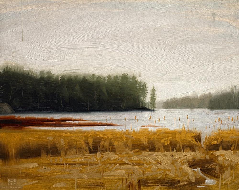 """Rain over the Lake"" original fine art by Rob  Rey"