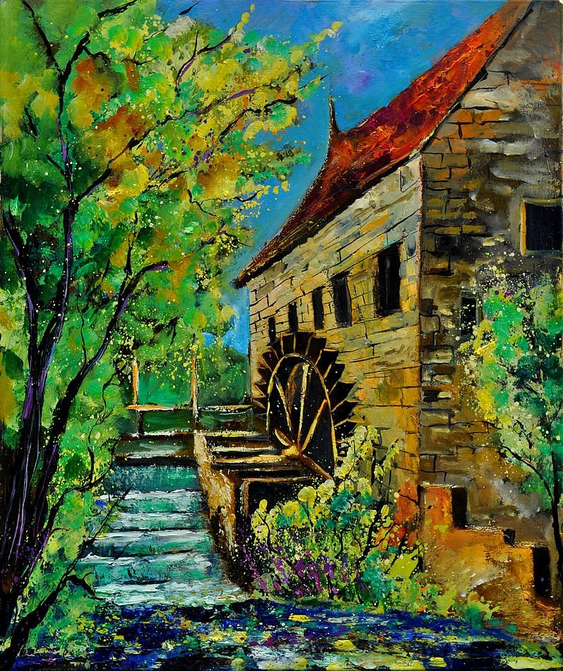 """old watermill"" original fine art by Pol Ledent"