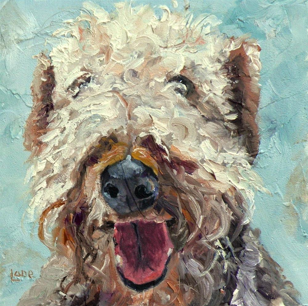"""FUZZY P A PUP 4X4 OIL ON TEXTURED PANEL © SAUNDRA LANE GALLOWAY"" original fine art by Saundra Lane Galloway"