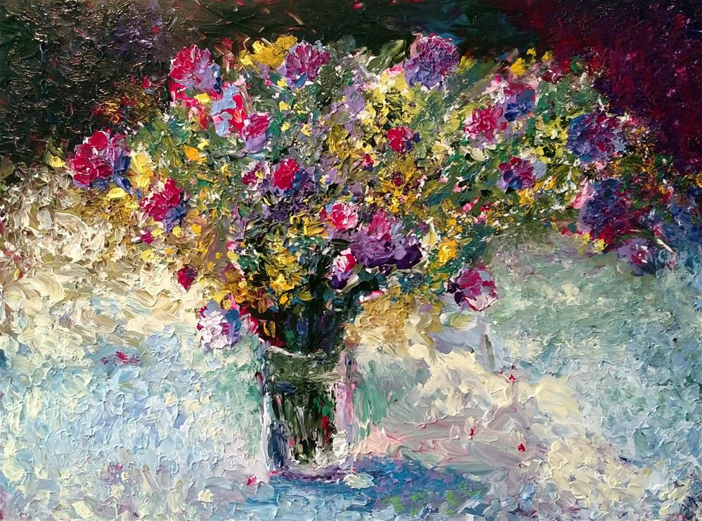 """Chardon Sauvage Bouquet"" original fine art by S. Lynne Price"