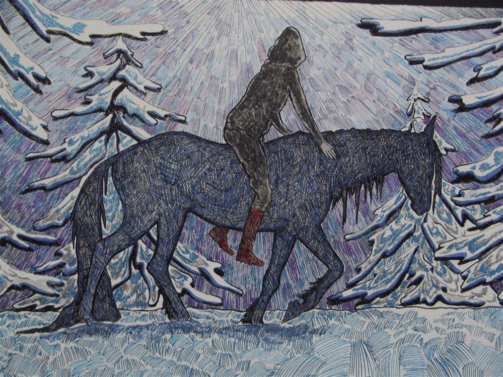 """Moonlight Ride in the Snow"" original fine art by wanda sigafus"