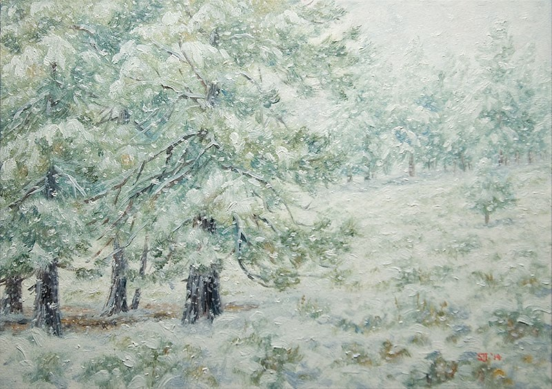 """C1579 Ponderosa & Sagebrush beneath New Fallen Snow"" original fine art by Steven Thor Johanneson"