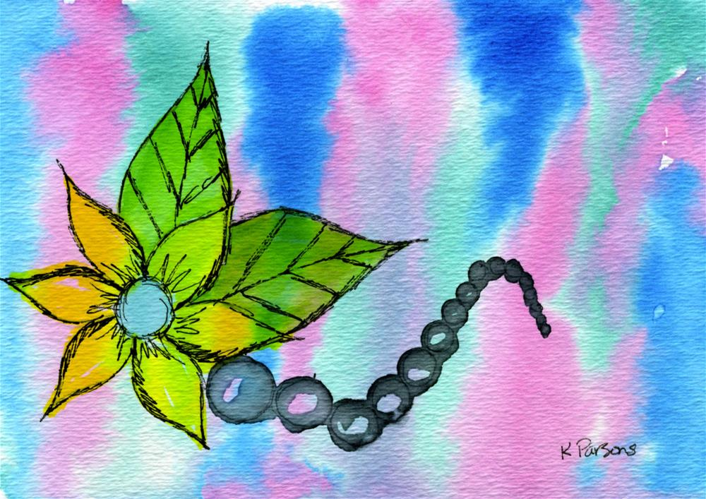 """A Flower with Black Pearls"" original fine art by Kali Parsons"