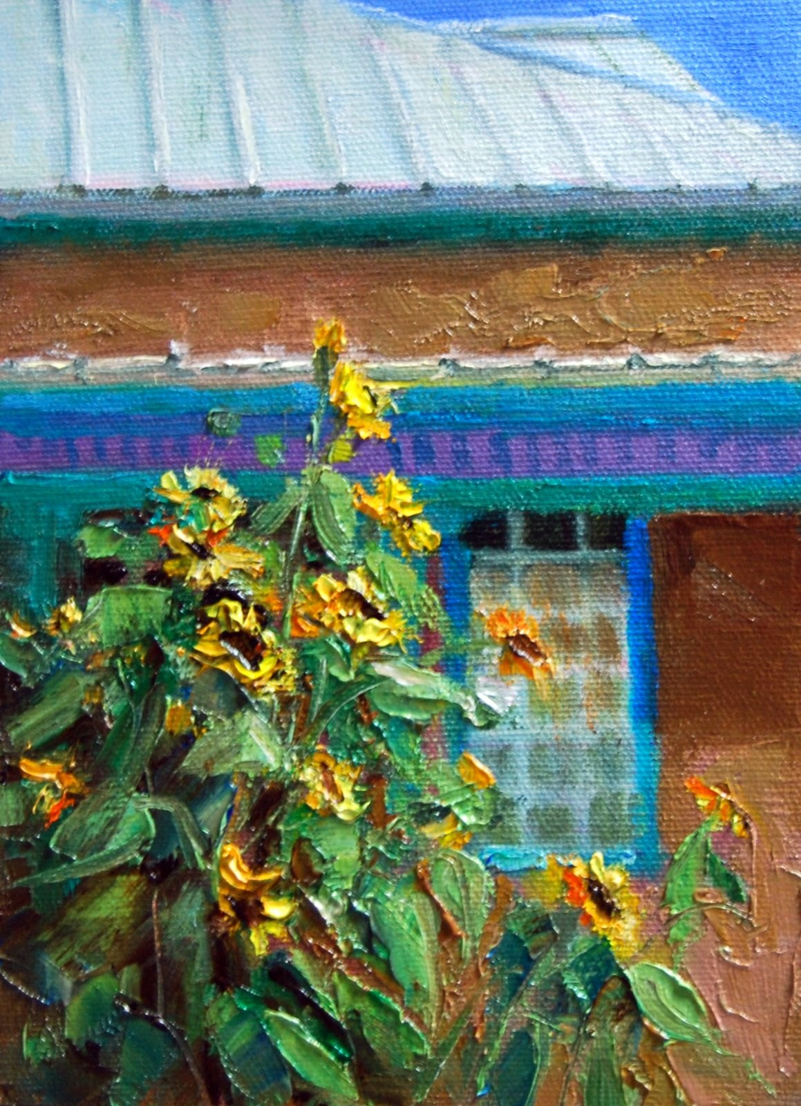"""Sunflowers in Socorro, N.M."" original fine art by Julie Ford Oliver"