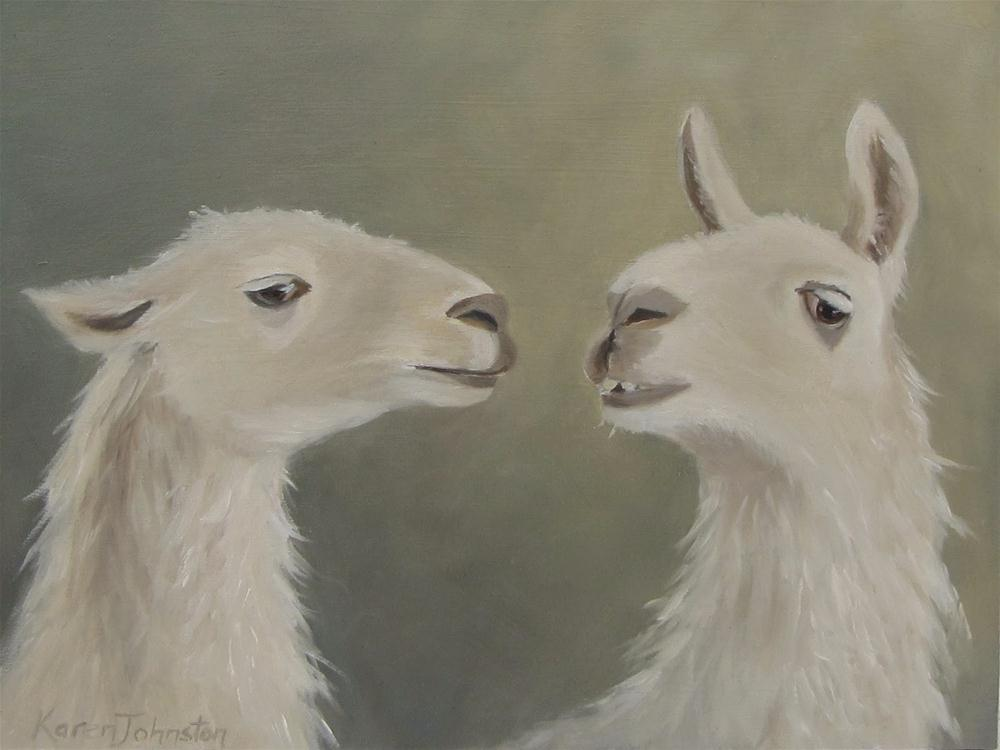 """Llama Love"" original fine art by Karen Johnston"