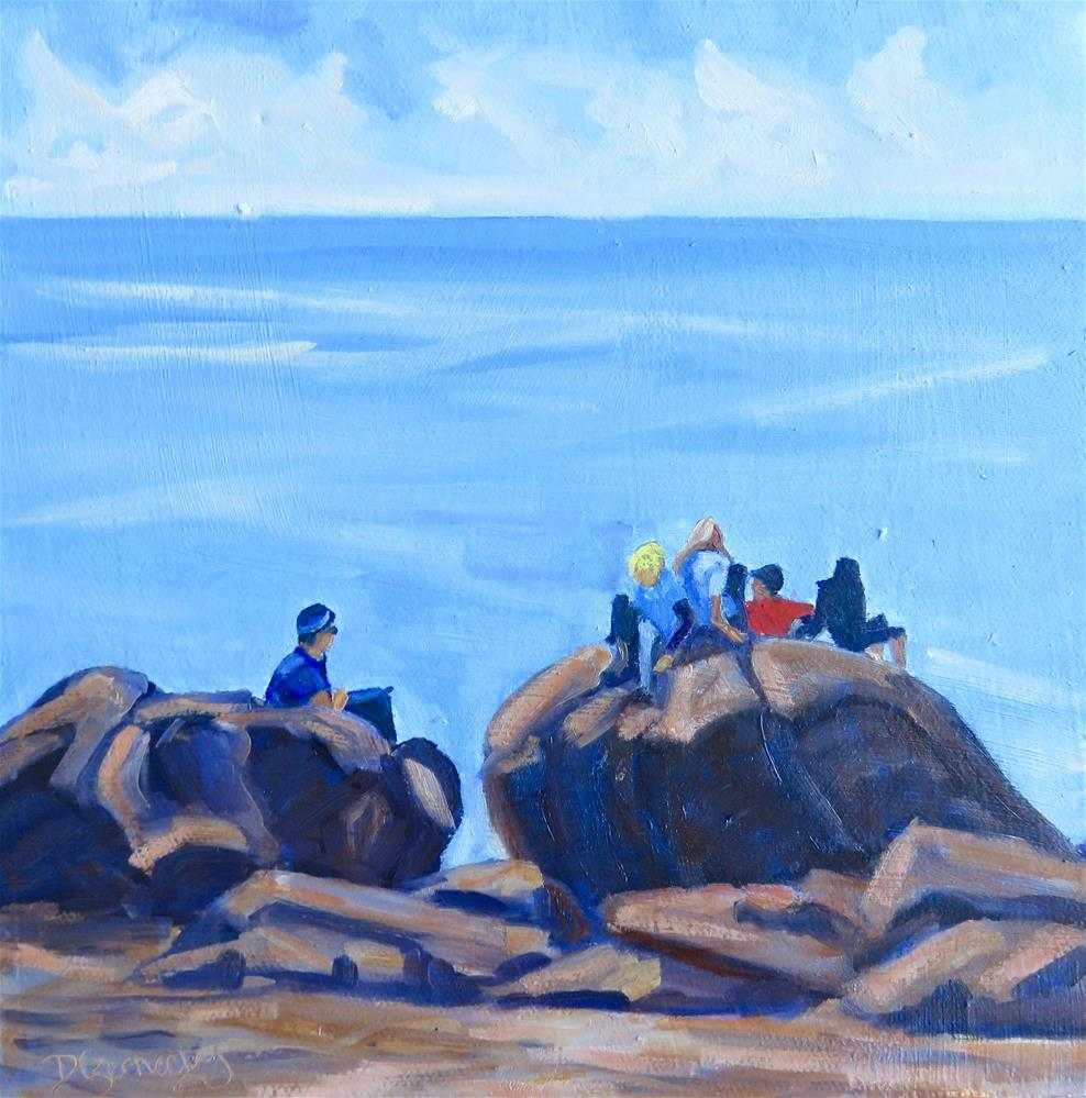 """The Boys at the Beach"" original fine art by Deborah Czernecky"