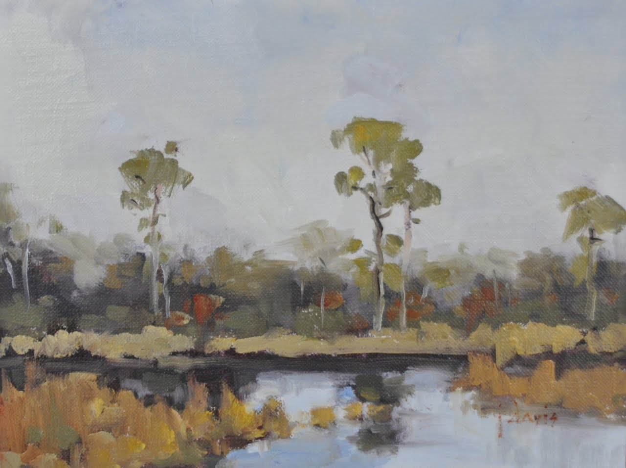 """Fall at Western Lake"" original fine art by Julie Davis"