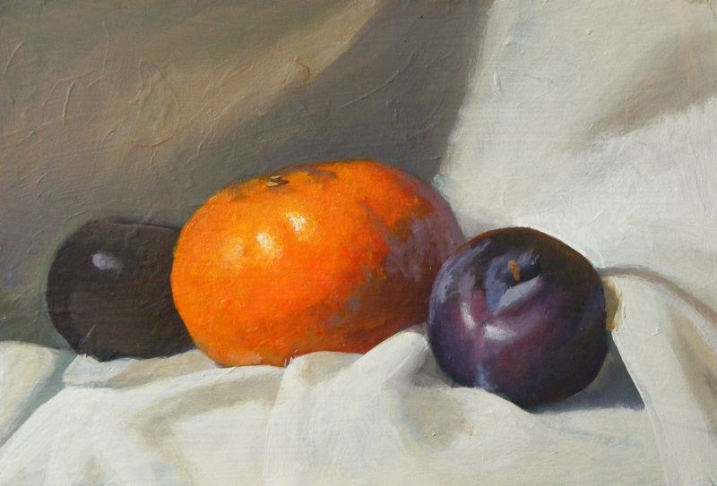 """citrus and plums"" original fine art by Peter Orrock"