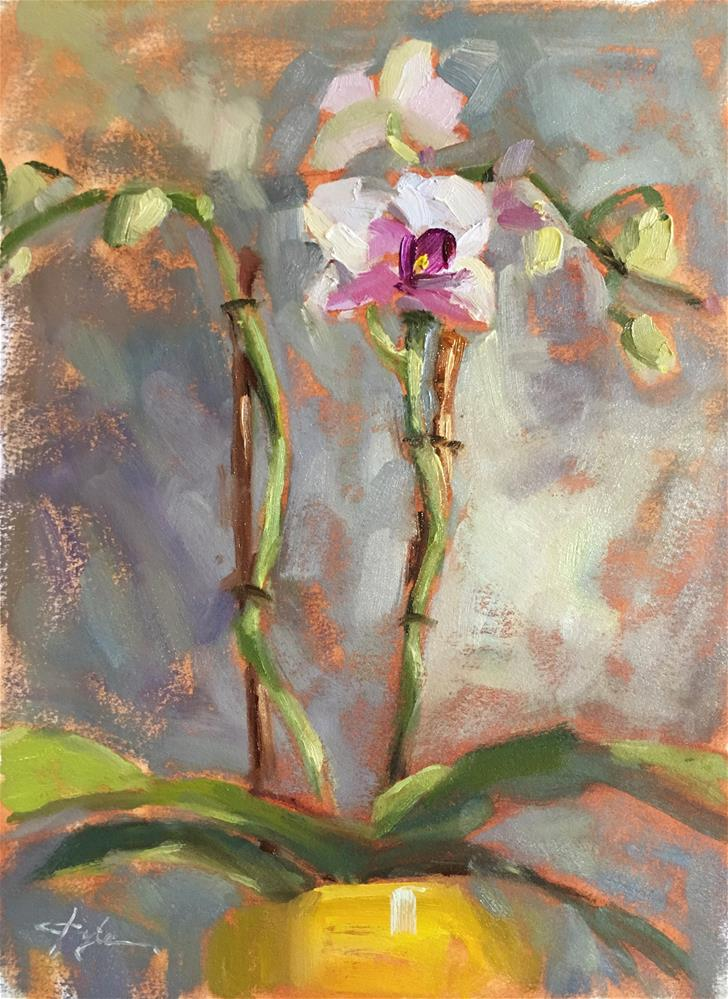 """Orchid in a Yellow Pot"" original fine art by Katia Kyte"