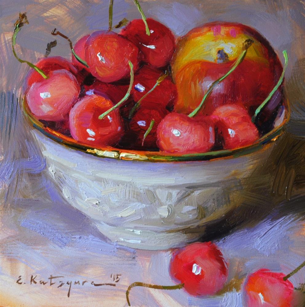 """""""Nectarine and Cherries"""" original fine art by Elena Katsyura"""