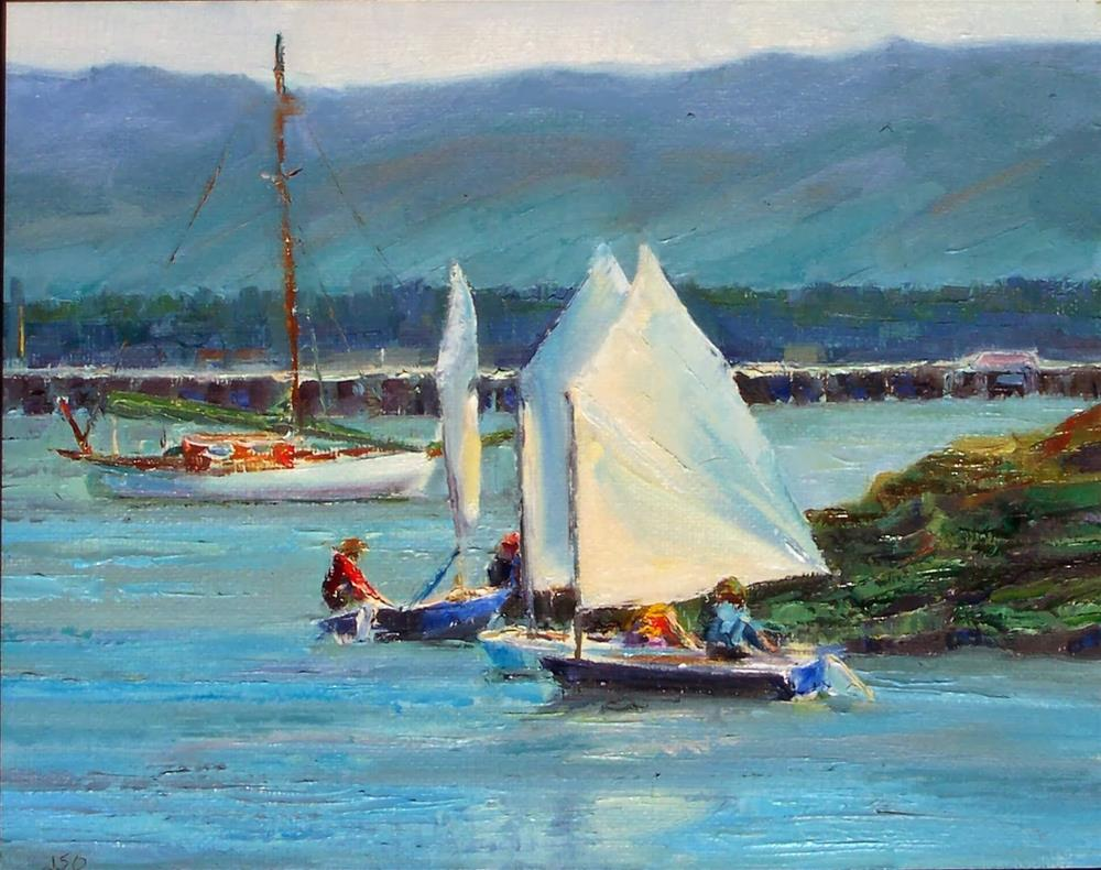 """Sailing Lessons,oil on canvas,8x10,price$850.00"" original fine art by Joy Olney"