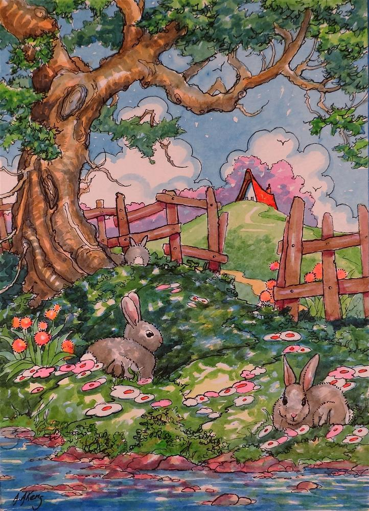 """Bunny Shade Storybook Cottage Series"" original fine art by Alida Akers"