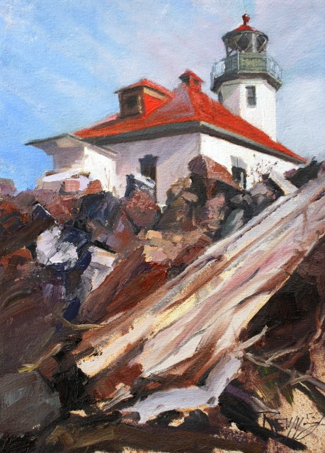 """""""Alki Lighthouse  Lighthouse oil painting by Robin Weiss"""" original fine art by Robin Weiss"""