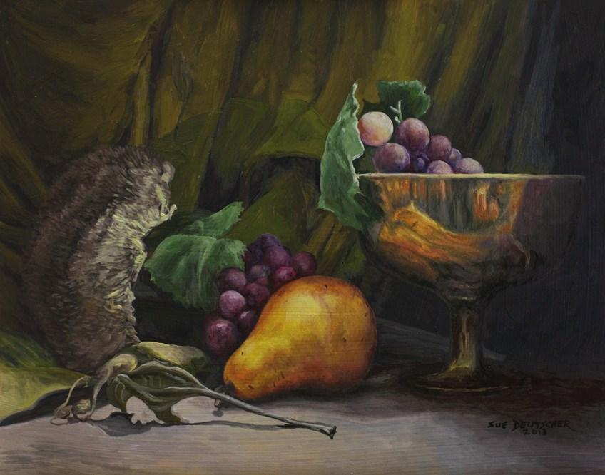 """""""Pear and Dried Sunflower 130111"""" original fine art by Sue Deutscher"""