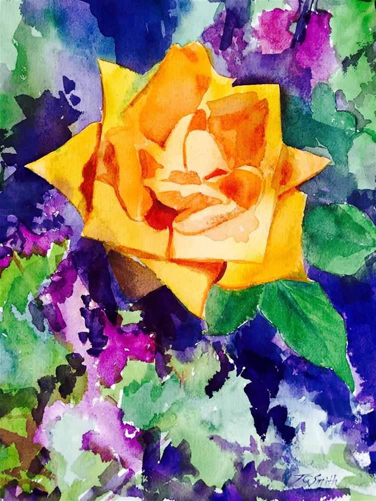 """Yellow Rose"" original fine art by Trudi Green Smith"