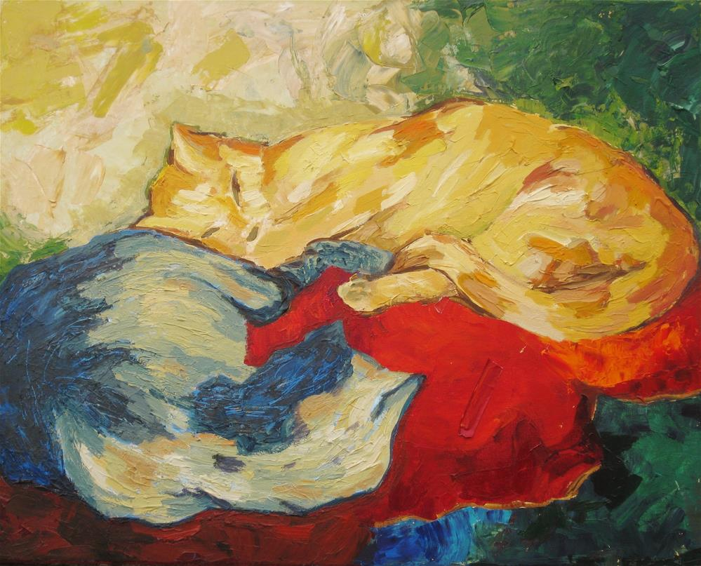 """Coiled cats"" original fine art by Priscilla Bohlen"