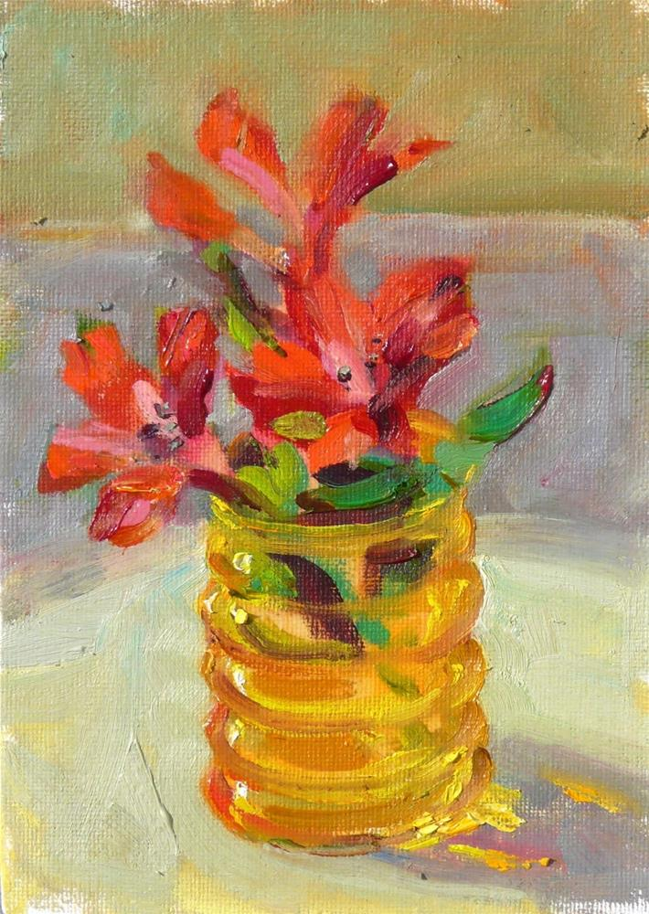 """Freesia in Vase,still life,oil on canvas,7x5,price$100"" original fine art by Joy Olney"