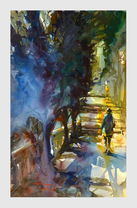 """Nizza, Park"" original fine art by Jurij Frey"