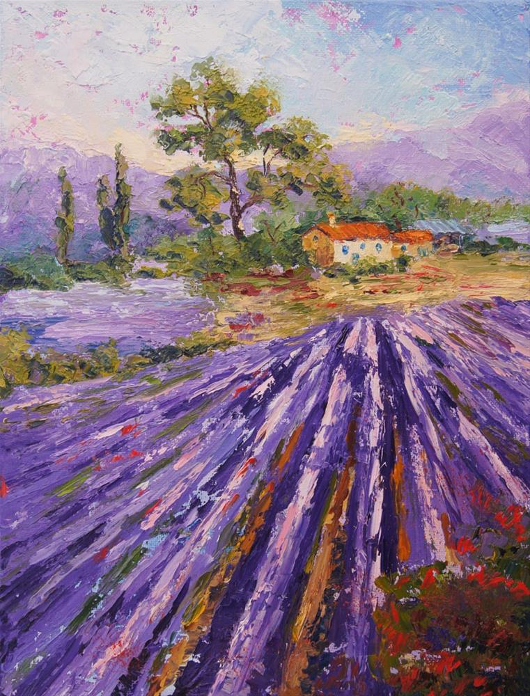 """Provence Lavender Fields"" original fine art by Marion Hedger"