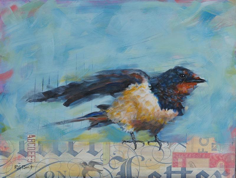 """Bird + Love Letter"" original fine art by Rhea  Groepper Pettit"