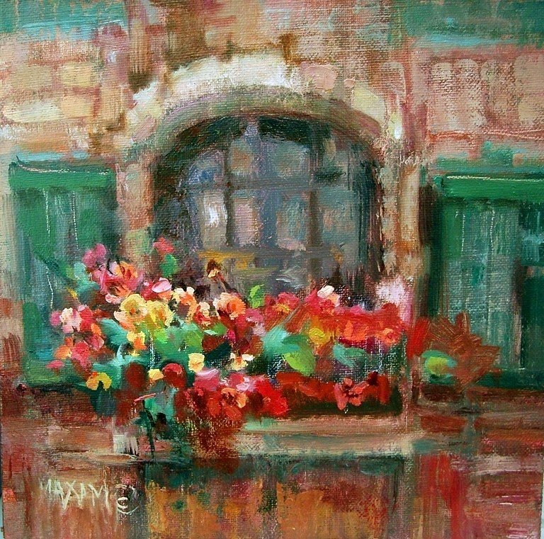 """Green Shutters"" original fine art by Mary Maxam"