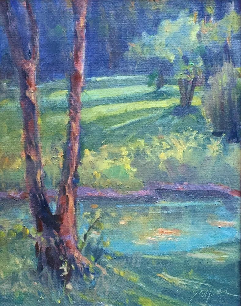 """Farm Pond in the Summer"" original fine art by Connie Snipes"