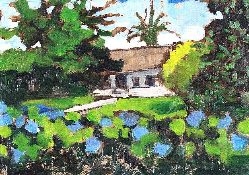 """Garden With Morning Glory Flowers"" original fine art by Kevin Inman"