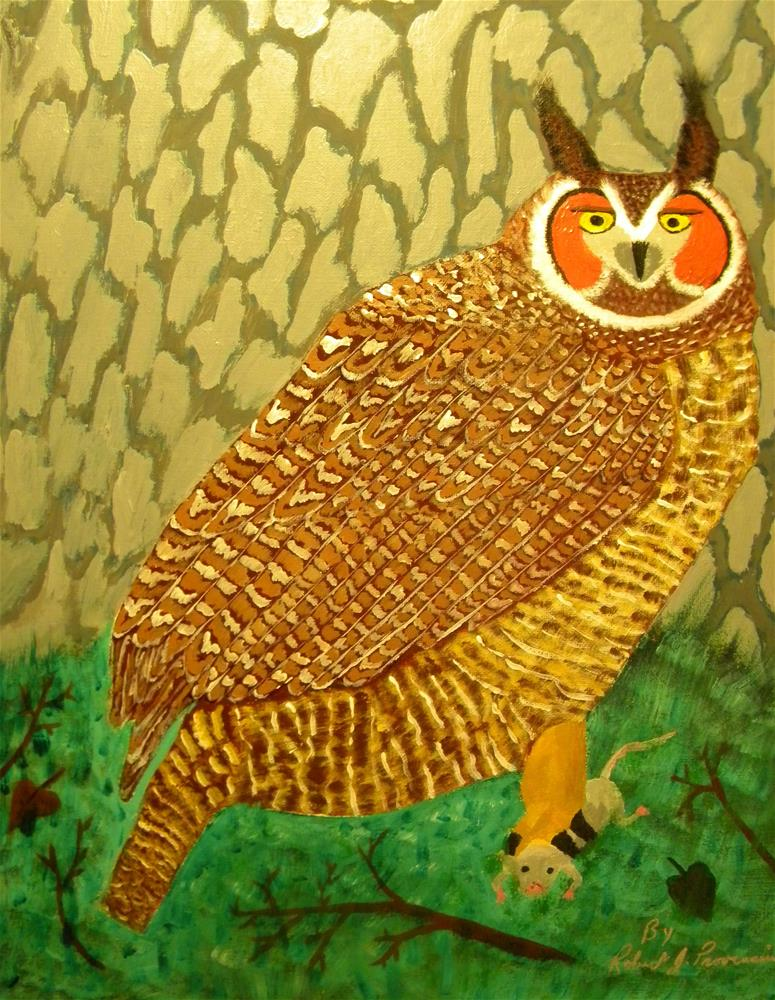 """Great Horned Owl"" original fine art by Robert Provencial"