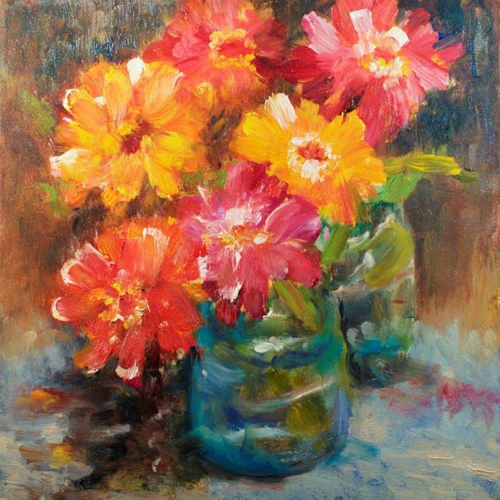 """Late Zinnias"" original fine art by Sue Churchgrant"