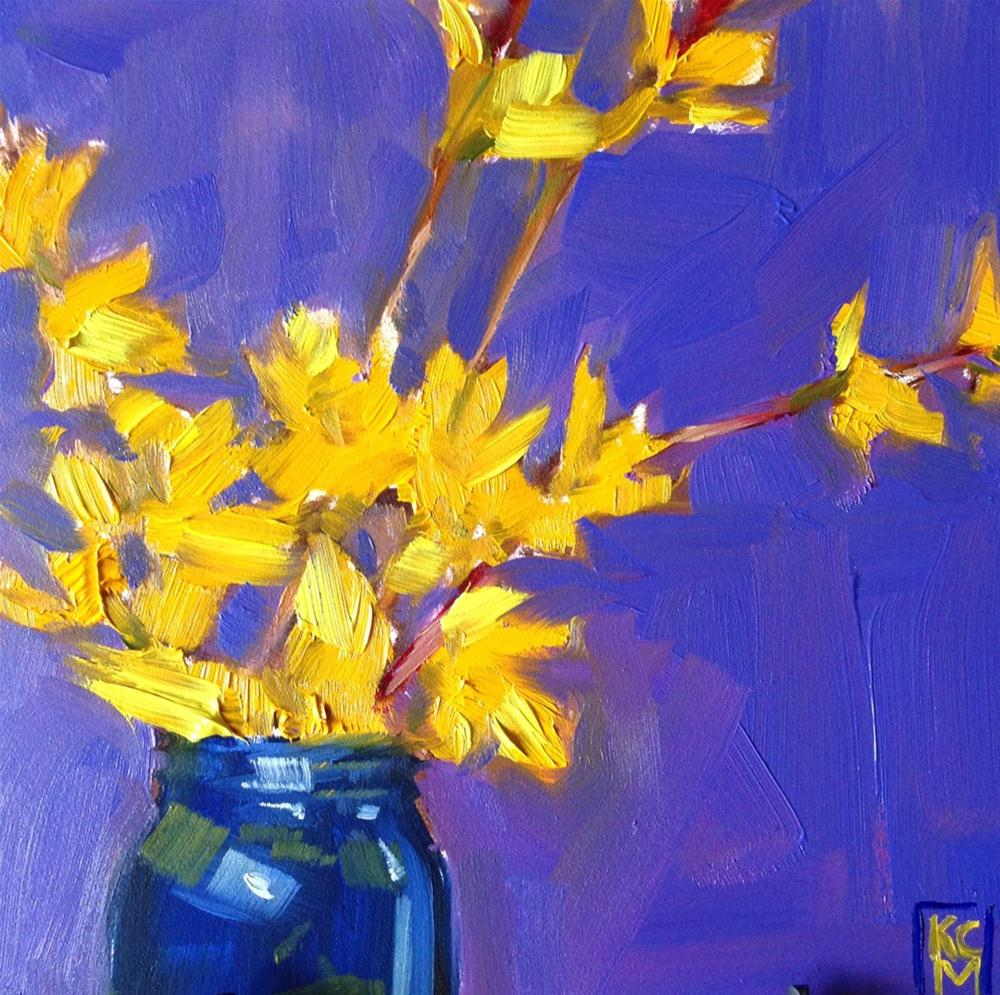 """Exuberance, 6x6 Inch Oil Painting of Forsythia, by Kelley MacDonald"" original fine art by Kelley MacDonald"