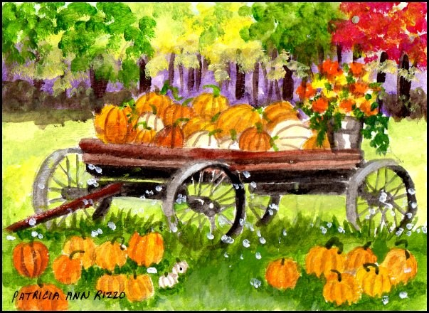 """Its Pumpkin Time!"" original fine art by Patricia Ann Rizzo"