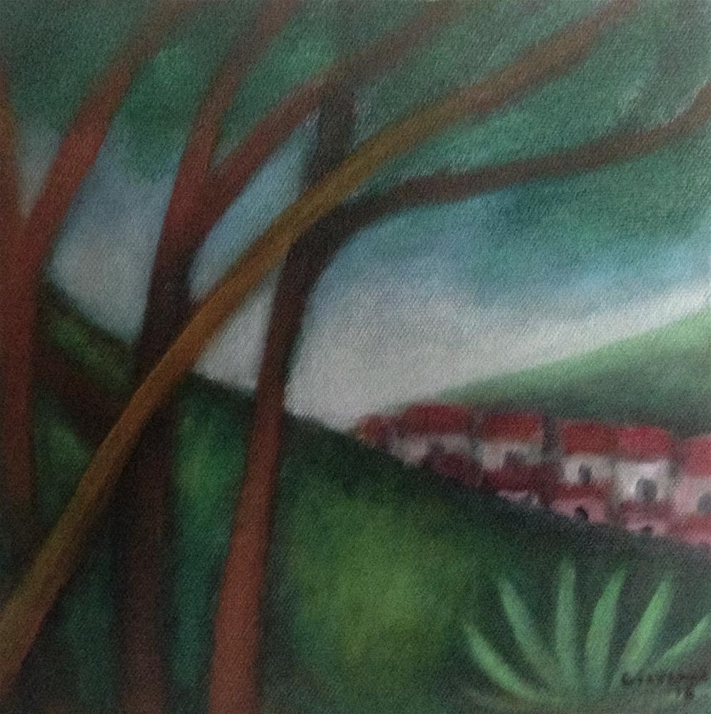 """Landscape (view -in the distance - of the small town"" original fine art by Giovanni Antunez"