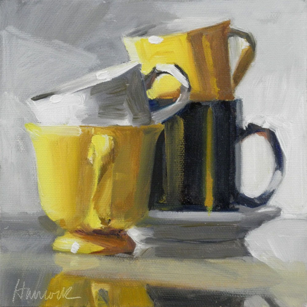 """Yellow Cup Stack on Glass"" original fine art by Gretchen Hancock"