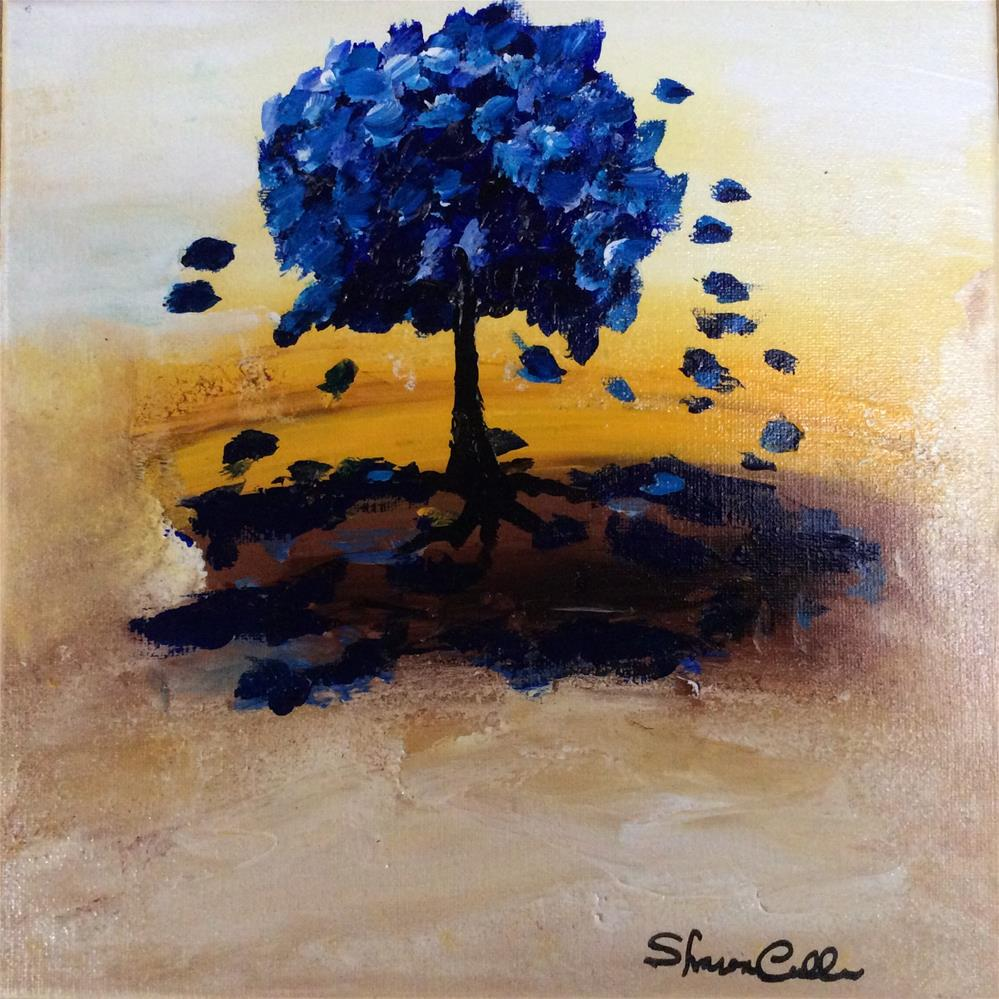 """""""Little Blue Tree"""" original fine art by Sharon Cullen"""